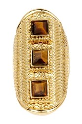 Vince Camuto Textured Tiger's Eye Geo Ring Brown