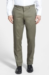 Wallin And Bros 'Bedford' Flat Front Stretch Cotton Trousers Green
