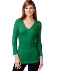 Inc International Concepts V Neck Ribbed Sweater Only At Macy's French Bean