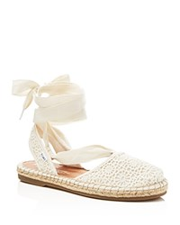 Toms Bella Crochet Lace Up Espadrille Flat Sandals Natural
