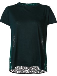 Sacai Lace Insert T Shirt Green