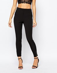 Fleur East By Lipsy Tailored Cigarette Trouser With Pu Contrast Black