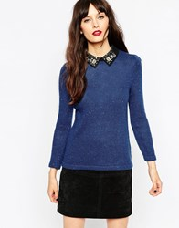 Asos Jumper In Tweed Knit With Embellished Collar Blue