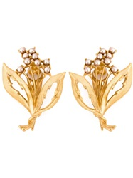 Dolce And Gabbana Faux Pearl Embellished Clip On Earrings Metallic