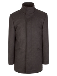 Alexandre Savile Row Formal Dogtooth Button Overcoat Charcoal