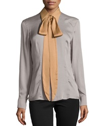 Escada Silk Colorblock Tie Neck Blouse Platinum