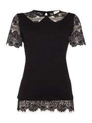 Linea Lace Collar Detail Jersey Top Black