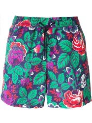 Etro Rose Print Swim Shorts Blue