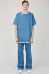 Marques Almeida Frayed Relaxed Fit Jeans Mid Blue