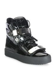Giuseppe Zanotti Double Zip Patent Leather High Top Sneakers Black