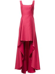 Alberta Ferretti Cascading Skirt Long Dress Red