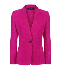 St. John Textured Stitch Knitted Jacket Female Pink