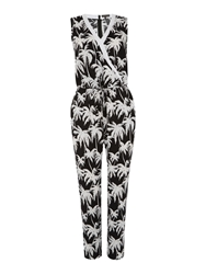 Vince Camuto Sleeveless Palm Print Jumpsuit Black White