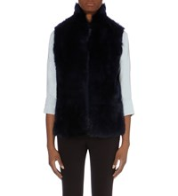 Whistles Open Front Sheepskin Gilet Navy