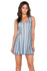 Eight Sixty Zig Zag Fit And Flare Dress Blue