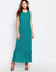 Sisley Embroidered Maxi Dress 112 Tourquise Green