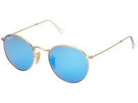 Ray Ban Rb3447 Round Metal Polarized 50Mm Matte Gold Blue Mirror Polar Polarized Fashion Sunglasses