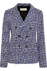 Marni Printed Linen Blend Double Breasted Blazer Royal Blue