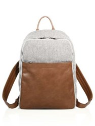Brunello Cucinelli Wool And Leather Backpack Tan