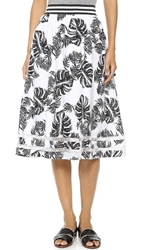 J.O.A. Tropical Safari Skirt White Black