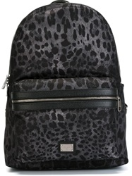 Dolce And Gabbana Leopard Print Backpack Grey