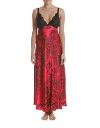 In Bloom Long Satin Nightgown Red