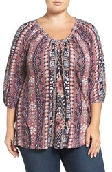 Lucky Brand Plus Size Women's Geo Print Peasant Top