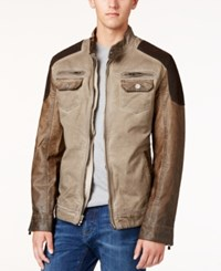 X Ray Men's Faux Leather Moto Jacket Brown