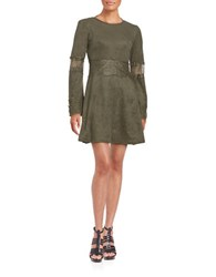 Design Lab Lord And Taylor Faux Suede Long Sleeve Fit Flare Dress Olive