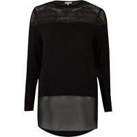 River Island Womens Black Lace And Mesh Panel Top