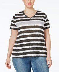 Styleandco. Style And Co. Sport Short Sleeve Striped Tee Only At Macy's Soft Black City Silver