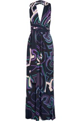 Emilio Pucci Printed Jersey Halterneck Maxi Dress Midnight Blue Violet