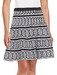 Saks Fifth Avenue Black Floral Jacquard Full Skirt Black White
