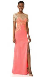 Marchesa Stretch Crepe Gown Coral