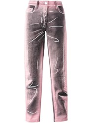 Moschino Trompe L'oeil Jeans Pink And Purple