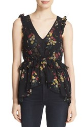 Cinq A Sept Women's Print Silk Peplum Top