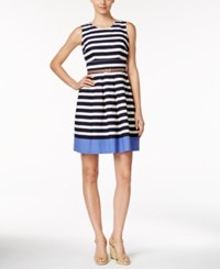 Charter Club Petite Striped Belted Dress Only At Macy's Intrpeid Blue