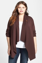 Bobeau One Button Fleece Cardigan Plus Size Brown