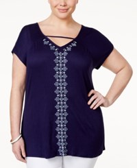 Eyeshadow Plus Size Embroidered Cutout T Shirt Moonlight