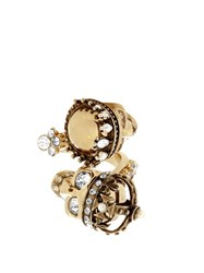 Alexander Mcqueen King And Queen Skull Embellished Ring Gold Multi