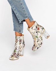Public Desire Claudia Floral Clear Heeled Ankle Boots Multi Floral