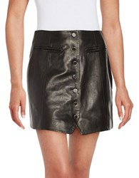 Rachel Zoe Leather And Silk Button Front Mini Skirt Black