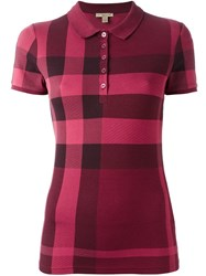 Burberry Checked Polo Shirt Pink And Purple