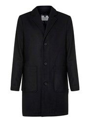 Topman Black Wool Rich Overcoat