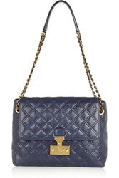 Marc Jacobs Single Oversized Quilted Leather Shoulder Bag Blue