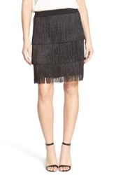 Trouve Stretch Knit Fringe Skirt Black