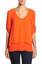 Women's Chaus Roll Sleeve Double Layer V Neck Blouse Amber Orange