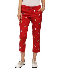 Loudmouth Golf Deck The Halls Capris Christmas Red Women's Capri