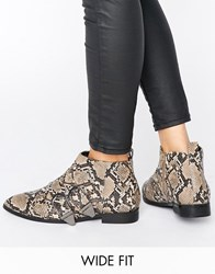 Asos Anglify Wide Fit Pointed Ankle Boots Snake Multi
