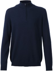 Pringle Of Scotland Zip Collar Jumper Blue